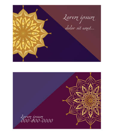 Vector mandala pattern. two template for flyer or invitation card design. for banners, greeting cards, gifts tags Çizim