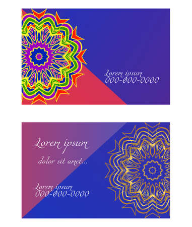 Visit Card template with floral mandala pattern. Vector template. Islam, Arabic, Indian, Mexican ottoman motifs. Hand drawn background. Stok Fotoğraf - 127726447
