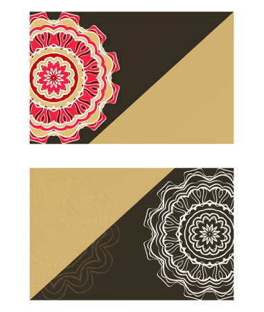 Vector mandala pattern. two template for flyer or invitation card design. for banners, greeting cards, gifts tags Ilustrace
