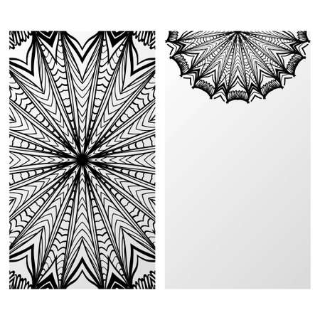 Templates card with mandala design. Vector illustration. For visit card, business, greeting card invitation Stok Fotoğraf - 127726459