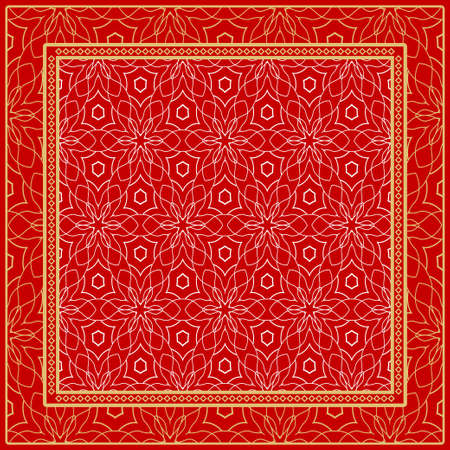 Design of a Scarf with a Geometric Pattern . Vector illustration. Seamless. For Print Bandana, Shawl, Carpet, tablecloth, bed cloth, fashion. Stok Fotoğraf - 127726464