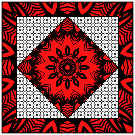 Floral pattern, colour scarf design. For design of carpet, shawl, pillow, cushion. Vector illustration.