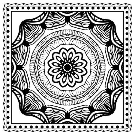 Design of a Scarf with a Geometric Flower Pattern . Vector illustration. Seamless. For Print Bandana, Shawl, Carpet, tablecloth, bed cloth, fashion. Stok Fotoğraf - 127726473