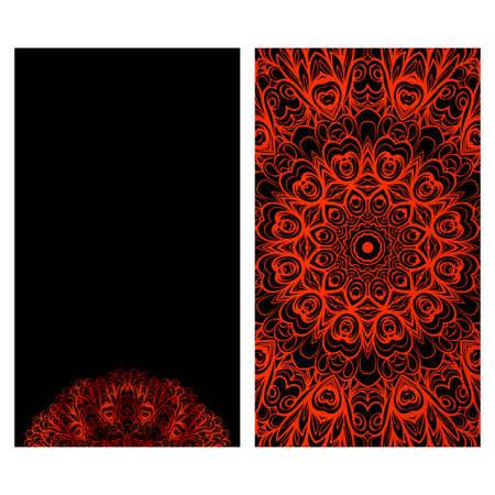 Cards or Invitations set with mandala ornament. Vector illustration. For wedding, bridal, Valentines day, greeting card invitation Çizim
