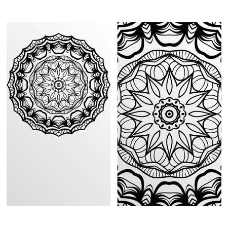Vintage cards with Floral mandala pattern. Vector template. The front and rear side. Çizim