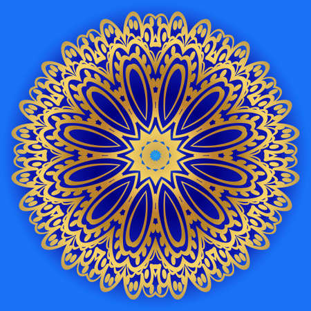 Sacred oriental mandala. color floral ornament. Abstract shapes in Asian style. Vector Illustration. Çizim