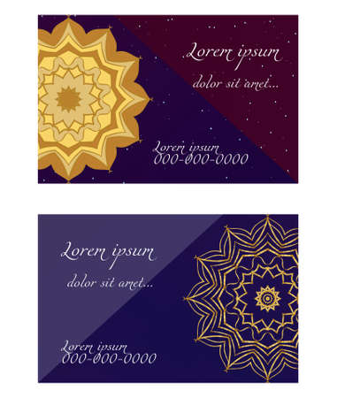 Cards or Invitations set with mandala ornament. Vector illustration. For wedding, bridal, Valentines day, greeting card invitation Çizim