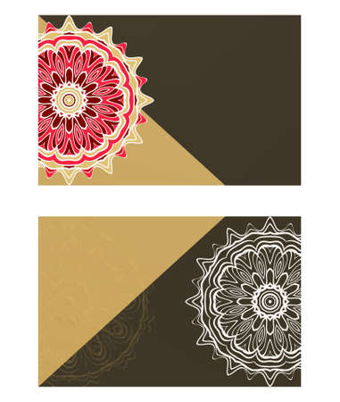 Yoga card template with mandala pattern. For business card, fitness center, meditation class. Vector illustration Çizim