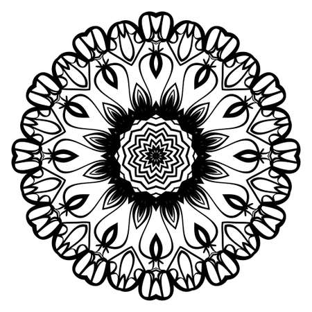 Hand-Drawn Henna Ethnic Mandala. Circle lace ornament. Vector illustration. for coloring book, greeting card, invitation, tattoo. Anti-stress therapy pattern