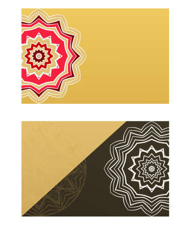 Ethnic Mandala ornament. Templates with mandalas. Vector illustration for congratulation or invitation. The front and rear side. Çizim