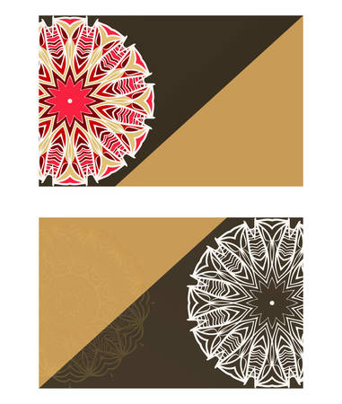 Templates card with mandala design. Vector illustration. For visit card, business, greeting card invitation Çizim