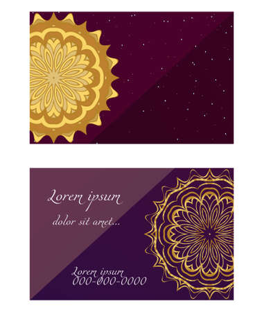Card template with floral mandala pattern. Business card for fitness center, sport emblem, meditation class. Vector illustration Çizim