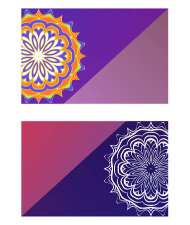 Templates for Greeting and Business cards. Vector Illustration. Oriental Pattern with. Mandala Çizim
