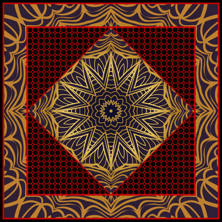 Design for pillow. Vector pattern with mandala decoration. For fabric, textile, bandana, pillow, carpet print
