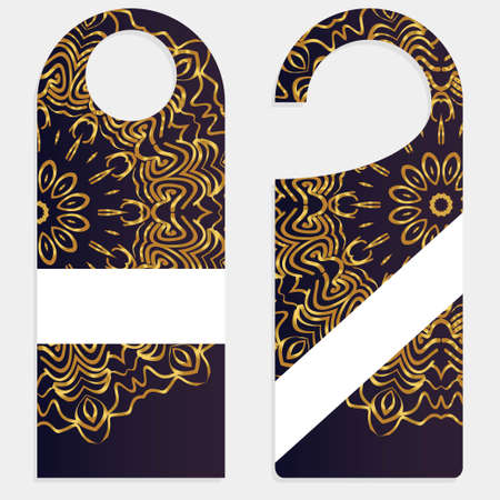 Door hanger mockup isolated on white background. Design with floral mandala ornament. Vector illustration.