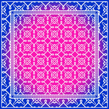 Design of a Scarf with a Geometric Pattern . for Scarf Print, Fabric, Covers, Scrapbooking, Bandana, Pareo, Shawl. Vector illustration Stok Fotoğraf - 127719697
