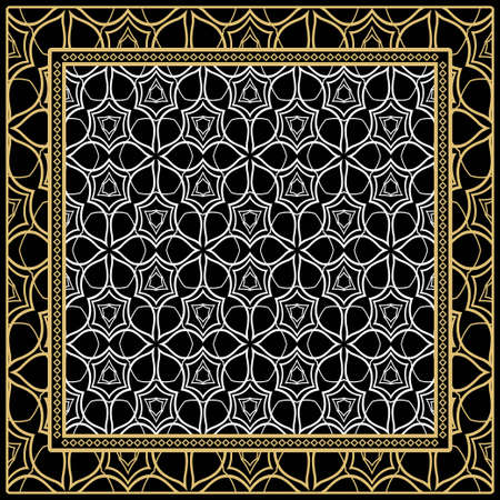 Geometric Pattern with hand-drawing floral ornament. Vector illustration. For fabric, textile, bandana, scarg, print. Ilustrace