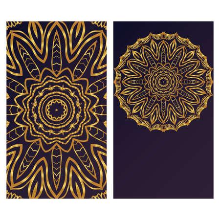 Card template with floral mandala pattern. Business card for fitness center, sport emblem, meditation class. Vector illustration Ilustrace