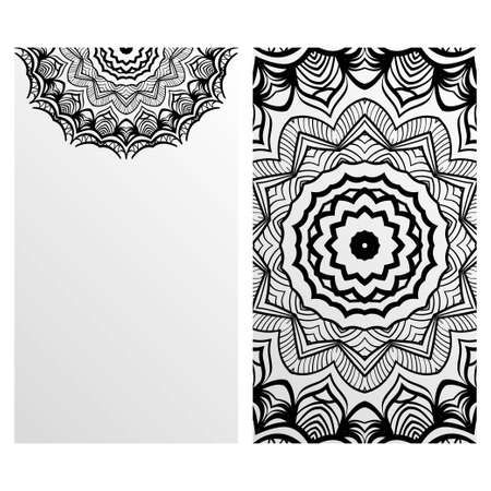 Vintage cards with Floral mandala pattern. Vector template. The front and rear side. Ilustrace
