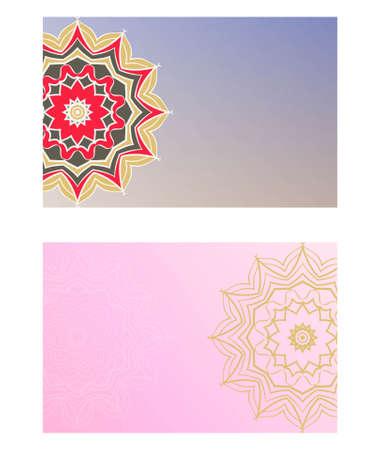 Card template with floral mandala pattern. Business card for fitness center, sport emblem, meditation class. Vector illustration
