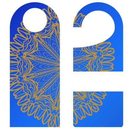 Door knob or hanger sign with floral mandala design. cartoon vector illustration. Illustration