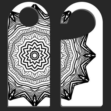 Door knob or hanger sign with floral mandala design. cartoon vector illustration. Vecteurs