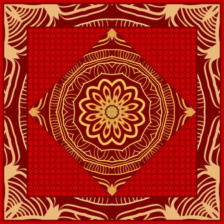 Floral Geometric Pattern with hand-drawing Mandala. illustration. For fabric, textile, bandana, scarg, print Ilustração