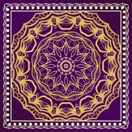 Decorative ornament with mandala decoration. symmetric pattern . For print Bandanna, shawl, tablecloth, fabric fashion, scarf, design.