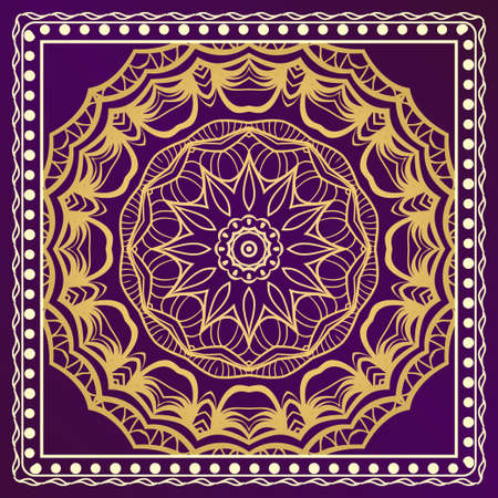 Decorative ornament with mandala decoration. symmetric pattern . For print Bandanna, shawl, tablecloth, fabric fashion, scarf, design.