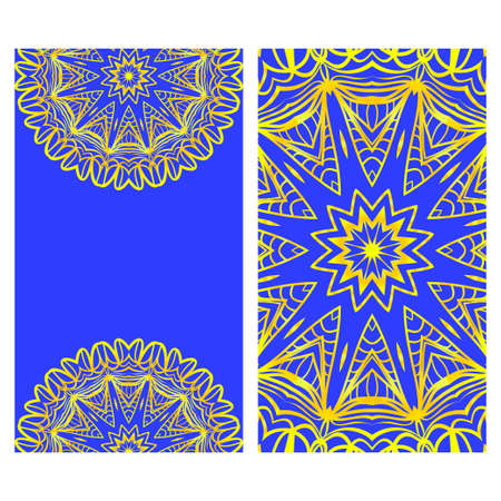 Vintage cards with Floral mandala pattern. Vector template. The front and rear side.  イラスト・ベクター素材