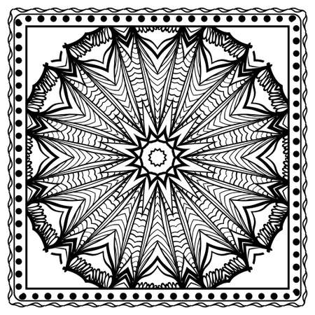 Design print for kerchief. The pattern of geometric floral ornament. Vector illustration. The idea for design prints for neck scarves, carpets, bandana