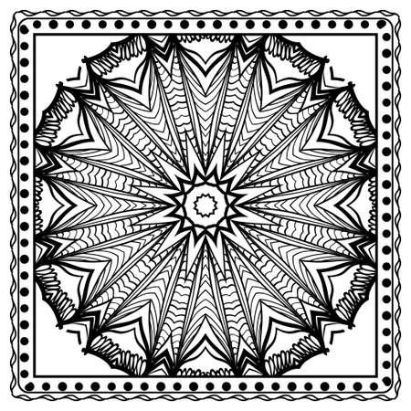 Design print for kerchief. The pattern of geometric floral ornament. Vector illustration. The idea for design prints for neck scarves, carpets, bandana