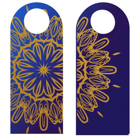 paper label or cloth tag . with floral mandala ornament. Vector illustration. Imagens - 112084122