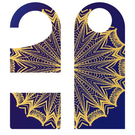 Hanger badge.Vector Illustration with floral mandala decoration.