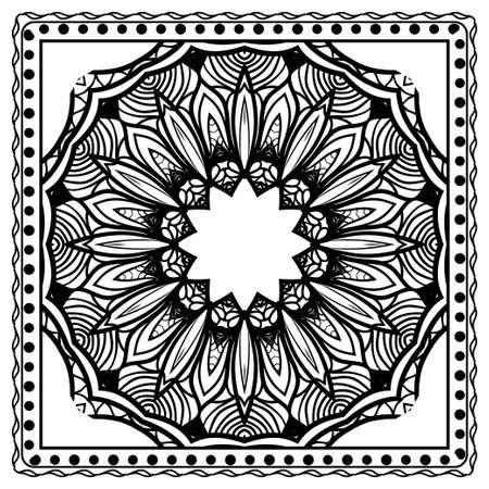 Design for square fashion print. For pocket, shawl, textile, bandanna. Geometric floral pattern. Vector illustration