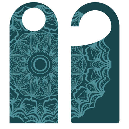 Door hanger flyer with floral mandala pattern for room in hotel, resort, home isolated on white background. Vector illustration