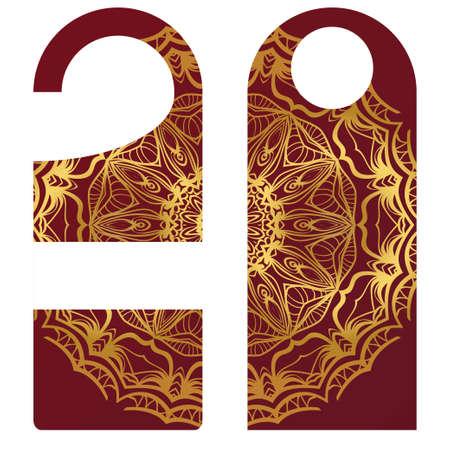 Door knob or hanger sign with floral mandala design. cartoon vector illustration.