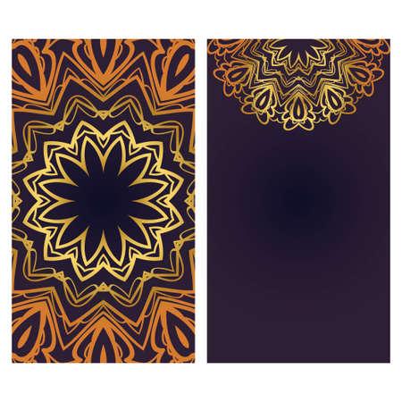 Modèle d'invitation ou de carte avec motif de mandala floral. Fond décoratif pour mariage, cartes de voeux, invitation d'anniversaire. La face avant et arrière.