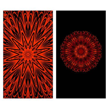 Templates card with mandala design. Heathcare, lifestyle flyer. Vector illustration