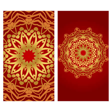Vintage Invitation card with Mandala pattern. The front and rear side. Beautiful Ornament. Vector illustration.