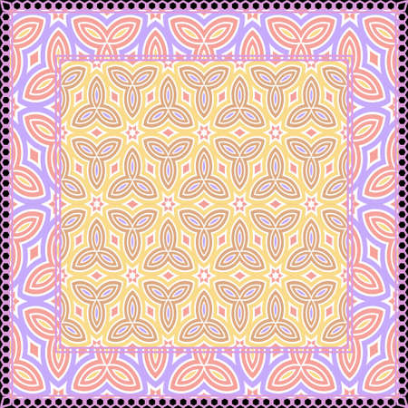 Design print. The pattern of geometric ornament. Vector illustration. The idea for design prints for neck scarves, carpets, bandanas. Illustration