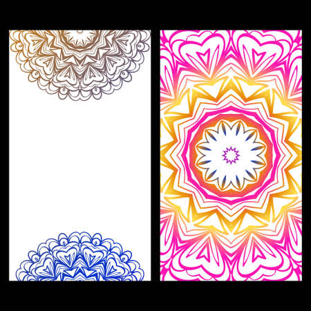 Relax cards with mandala formed flowers, boho style, vector illustration. For wedding, bridal, Valentine's day, greeting card invitation