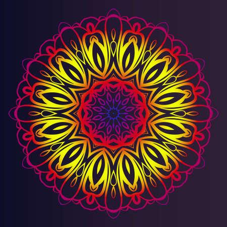 Round pattern flower mandala. circle floral ornament. Decorative illustration