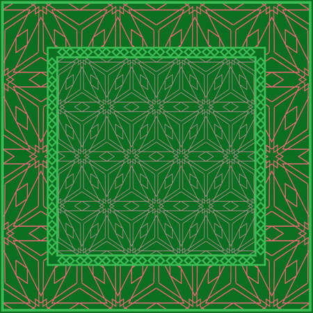Template Print for Fabric. Pattern of Geometric ornament with Border. illustration. . For Print Bandana, Shawl, Carpet. green and orange color. 矢量图像