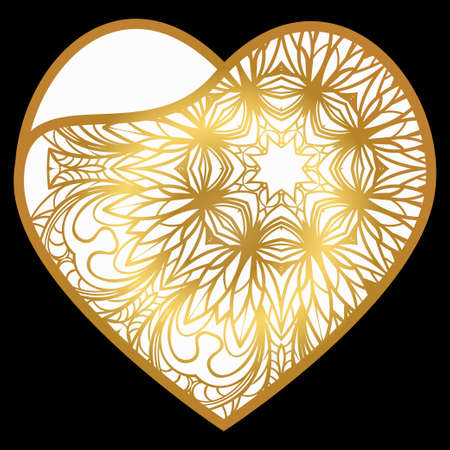 Vintage Lace Heart With Flower. Luxury Design For Invitations, Cards. Vector Illustration