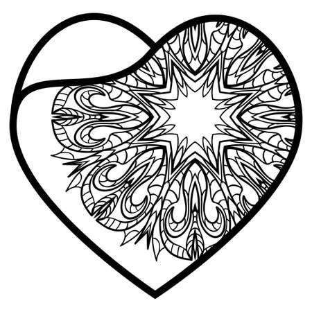 Openwork Decorative Heart With Flowers. Vector Illustration. Template For Greeting Cards, Envelopes, Wedding Invitations, Interior Elements.