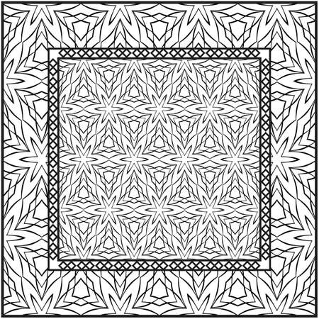 Background, geometric pattern with ornate lace frame. illustration. for Scarf Print, Fabric, Covers, Scrapbooking, Bandana, Pareo, Shawl. Black and white color.  イラスト・ベクター素材