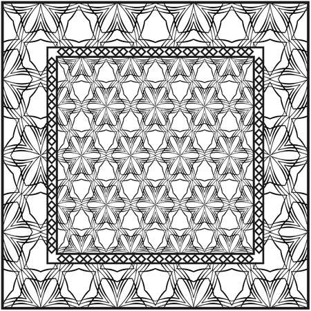 Background, geometric pattern with ornate lace frame. illustration. for Scarf Print, Fabric, Covers, Scrapbooking, Bandana, Pareo, Shawl. Black and white color. Ilustración de vector