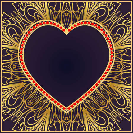 Romantic Pattern With Decorative Heart. Template for Happy Valentines Day. Vector Illustration. For Greeting Card, Invitation Or Posters