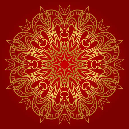 Sacred oriental mandala. color floral ornament. Abstract shapes in Asian style. Vector Illustration. Vettoriali